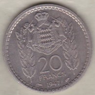 MONACO .20 FRANCS 1947 .LOUIS II .Cupro-nickel - Mónaco