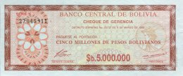 Bolivia 5.000.000 Pesos, P-193a (8.3.1985) -  UNC - Bolivien