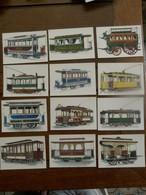Lot Van 12 Stuks Postkaarten Met Voorstelling TRAMS - Chemin De Fer