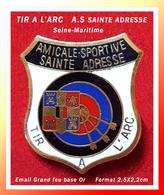 SUPER PIN'S TIR à L'ARC : Amicale Sportive, Club TIR à L'ARC De SAINTE-ADRESSE (76) émaillé Grand Feu Or, 2,5X2,2cm - Archery