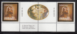 Aland 2010 MNH Scott #298 Head Of Christ (Jesus) Gutter Pair With Number, Jesus With Sheep - Aland