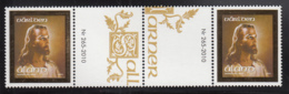 Aland 2010 MNH Scott #298 Head Of Christ (Jesus) Gutter Pair With Number, Text - Aland