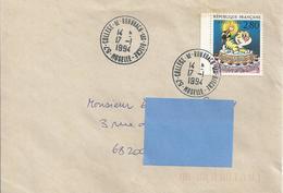 Cachet Manuel Du Collège De Rohrbach-les-Bitche (Moselle) Du 17-1-1994 Sur Enveuoppe Entière - Marcophilie (Lettres)