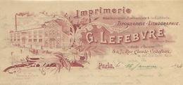 Facture Lettre 1894 / PARIS / G. LEFEBVRE / Imprimerie, Typographie, Lithographie - 1800 – 1899