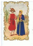 CHROMOS-GAUFREE-ROBES BRODÉE-ARMÉNIE 1858-PUB-CHOCOLAT DE LYON-7,3 X 10,7 CM-TOUR DECOUPE- - Chocolate