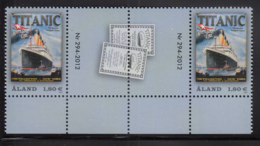 Aland 2012 MNH Scott #328 Titanic Gutter Pair With Number, Ticket - Aland