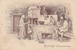 AK Russische Bauernstube - Künstlerkarte - Feldpost 8. J.-M.-K. 77. R.-D. (X. A.-K.) - 1916  (36250) - Europa