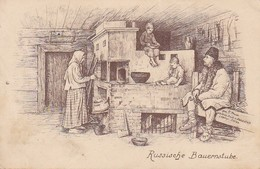 AK Russische Bauernstube - Künstlerkarte - Feldpost 8. J.-M.-K. 77. R.-D. (X. A.-K.) - 1916  (36250) - Europe