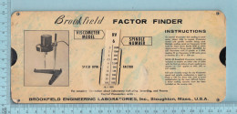 Regle Calcul - Brookfield Factor Finder, Viscosimeter, Spindle Number, Rule - Other