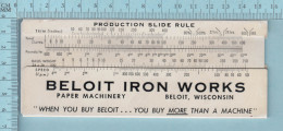 Regle Calcul - Beloit Pulp & Paper, Production Slide Rule, Theorical Relation Ship Berween Wire Speed And Head. Rule - Technical