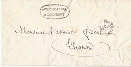 Circulaire Confidentielle Avocat Fiscal Général De Savoie TAD Sarde 8/4/1860 Voir Texte - Postmark Collection (Covers)
