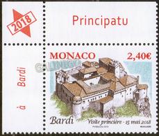 2018 Monaco Architecture: Ancient Grimaldi Strongholds, Castle Bardi 1v-corner  MNH - Castles