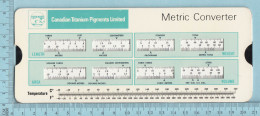 Regle Calcul - Canadian Titanium Pigment, Metric Converter To Imperial, Rule - Other