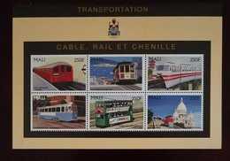 O) 1996 MALI, TRAIN-HISTORIC - SUBWAY TRAIN LONDON-SAN FRANCSICO CABLE CAR -JAPANESE MONORAIL-PANTOGRAPH CAR STOCKHOLM - - Mali (1959-...)