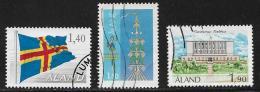 Aland, Scott # 7,9, 13 Used Flag, Pole, Town Hall. 1984-9 - Aland
