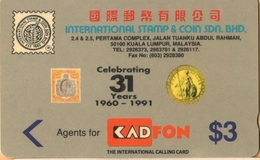Malaysia - GPT, KadFon, 6MSTA, Celebrating 31 Years Of Stamp & Coin, 3RM, 3.000ex, 8/91, Mint - Malaysia