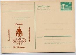 DDR P84-37-84 C88 Postkarte Zudruck PUPPENSPIELER DRESDEN 1984 - Puppen