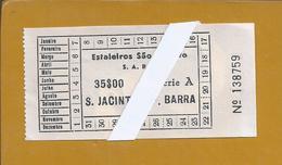 Estaleiros De São Jacinto. Bilhete Da Carreira De Lanças Entre S, Jacinto E Forte Da Barra. Raro. - Schiffstickets