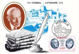 """MONACO 1976 : Carte Maximum """" CONSEIL LITTERAIRE : A. MAUROIS / COLETTE """". Parfait état. CM - Writers"""