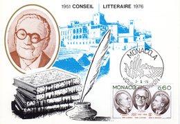 """MONACO 1976 : Carte Maximum """" CONSEIL LITTERAIRE : R. DORGELES / M. ACHARD / G. BAUER """". Parfait état. CM - Schrijvers"""