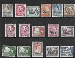 Kenya Uganda Tanganyika,  EIIR , 1954 -1959 Definitive Set 5 Cents - £1,+ Shades Of 50 Cents & 2/=  MH * - Kenya, Uganda & Tanganyika