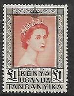 Kenya Uganda Tanganyika, EIIR, 1959, £1 Venetian Red & Black, MNH ** - Kenya, Uganda & Tanganyika