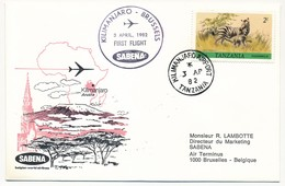 TANZANIE - 2 Enveloppes SABENA - 1ere Liaison Aérienne - KILIMANJARO - BRUXELLES - 3.4.1982 Et Aller - Tanzania (1964-...)