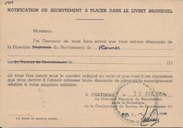 Carte  Ordre De Route Poitiers 1962 Dos Fascicule De Mobilisation - Documents