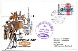 INDONESIE / BELGIQUE - 2 Enveloppes SABENA - 1ere Liaison Aérienne - JAKARTA - BRUXELLES - 5.4.1974 Et Aller - Indonésie