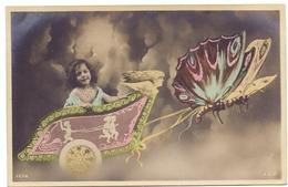 CP - Fantasie - Fantaisie - Montage - Fille - Charriot - Papillon - Meisje + Vlinder - Cartes Postales