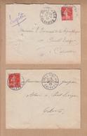 2  Lettres  De DIVES Sur MER  Calvados  1908 Et 1911  Pour PONT-L'EVEQUE Calvados  SEMEUSE 10c Rouge - 1906-38 Semeuse Camée