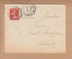 DAGUIN 2.BD.  De LE HAVRE GOBELINS Seine-inf  Le 21 7 1911  Pour PONT-L'EVEQUE Calvados  Semeuse 10c Rge - Marcophilie (Lettres)