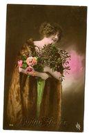 CPA - Carte Postale - Fantaisie - Bonne Année - Femme - Fleurs - 1919 ( CP5211 ) - Nieuwjaar