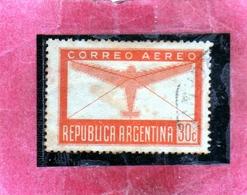 ARGENTINA 1940 1942 AIR MAIL POSTA AEREA CORREO AEREO PLANE AND LETTER CENT. 30c USED OBLITERE' - Posta Aerea