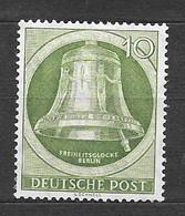 Germania Berlino 1951 Campana Della Libertà A Berlino-Shoneberg. Battaglio A Destra. 10 P. Verde Nuovo/mnh** - [5] Berlin