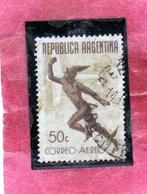 ARGENTINA 1940 1942 AIR MAIL POSTA AEREA CORREO AEREO MERCURY MERCURIO CENT. 50c USED OBLITERE' - Posta Aerea