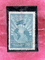 ARGENTINA 1928 AIR MAIL POSTA AEREA CORREO AEREO AIRPLANE CIRCLES THE GLOBE CENT. 10 USATO USED OBLITERE' - Posta Aerea