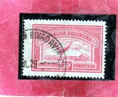 ARGENTINA 1928 AIR MAIL POSTA AEREA CORREO AEREO WINGS CROSS THE SEA ALI ATTRAVERSANO MARE CENT. 30c USATO USED OBLITER - Posta Aerea