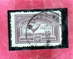 ARGENTINA 1928 AIR MAIL POSTA AEREA CORREO AEREO WINGS CROSS THE SEA ALI ATTRAVERSANO MARE CENT. 90c USATO USED OBLITER - Posta Aerea