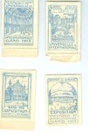 Exposition Universelle Et Internationale Gand 1913 4 Timbres - Vignettes Erinnophilie Erinnofilie Vignetten - Non Classés