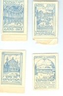 Exposition Universelle Et Internationale Gand 1913 4 Timbres - Vignettes Erinnophilie Erinnofilie Vignetten - Francobolli