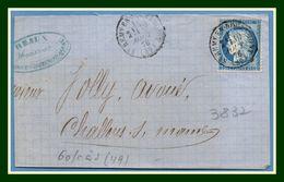 Type 16 St Remy En Bouzemont (49) 1876 > Châlons S Marne (sur Fragment De Lettre) - Postmark Collection (Covers)
