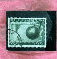 ARGENTINA 1948 1949 AIR MAIL POSTA AEREA CORREO AEREO CARTOGRAPHERS BUENOS AIRES MAP GLOBE CENT.70c USATO USED OBLITERE' - Posta Aerea