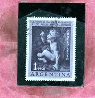 ARGENTINA 1956 AIR MAIL POSTA AEREA CORREO AEREO STATE GRATITUDE CHILDREN JESUS LEONARDO DA VINCI PESO 1p USATO USED - Posta Aerea
