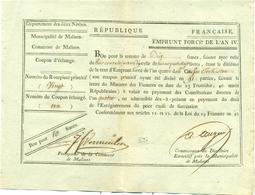 EMPRUNT FORCE DE 10 FRANCS DE LA MUNICICPALITE DE MALINES 8 SEPTEMBRE 1796 - [ 1] …-1830 : Avant Indépendance