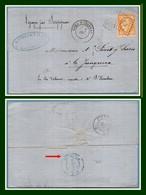 Losange E P /N° 38 Type 17 Gare D' Epernay 49 1874 + PD > La Junquera Spain Jonquera Espagne Paris Etranger T17 + Amb - Marcophilie (Lettres)