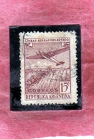 ARGENTINA 1946 AIR MAIL POSTA AEREA CORREO AEREO PLANE OVER IGUACU FALLS CENT. 15c USATO USED OBLITERE' - Posta Aerea