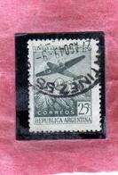 ARGENTINA 1946 AIR MAIL POSTA AEREA CORREO AEREO PLANE OVER THE ANDES CENT. 25c USATO USED OBLITERE' - Posta Aerea