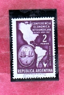 ARGENTINA 1957 AIR MAIL POSTA AEREA CORREO AEREO MAP AMERICAS ARMS BUENOS AIRES PESOS 2p USATO USED OBLITERE' - Posta Aerea
