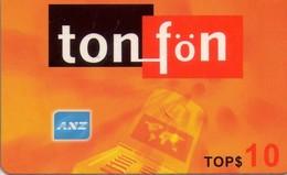 TARJETA TELEFONICA DE TONGA. TONFON ORANGE 10T$ (WHALE - BALLENA), TON-REF-0008 (003). - Tonga